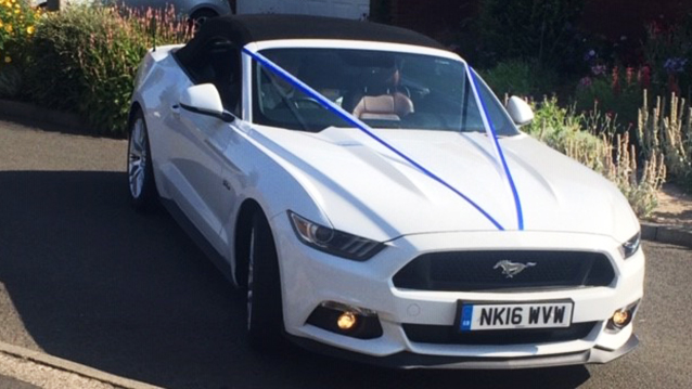 Ford Mustang Convertible GT V8 wedding car for hire in Hartlepool, Durham