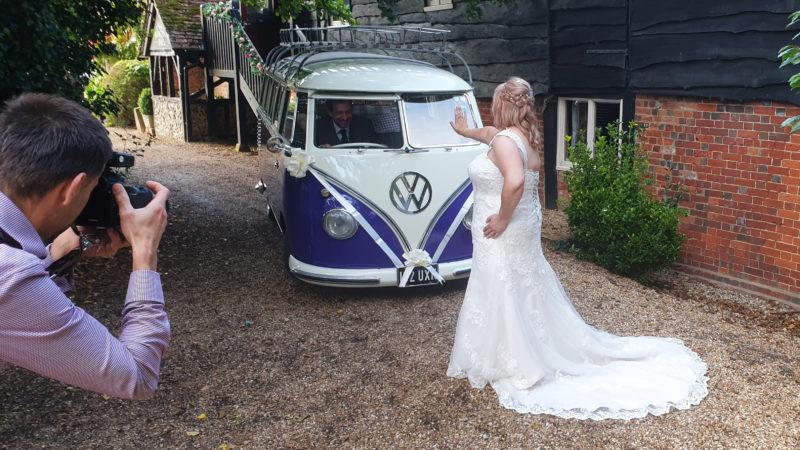 Volkswagen Samba Camper Van wedding car for hire in Reading, Berkshire