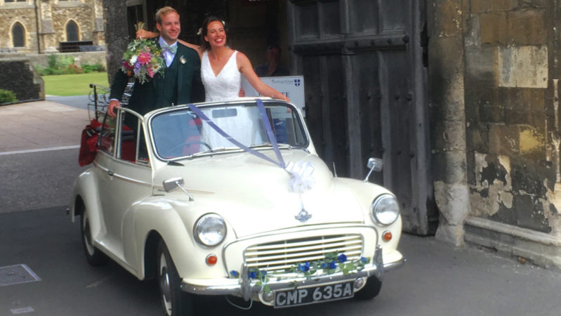 Morris Minor Convertible wedding car for hire in Whitstable, Kent