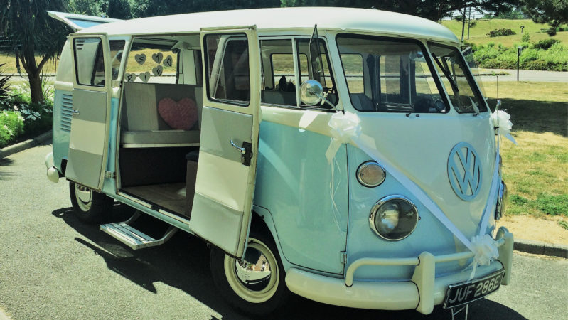 Volkswagen Split Screen Campervan wedding car for hire in Hastings, East Sussex