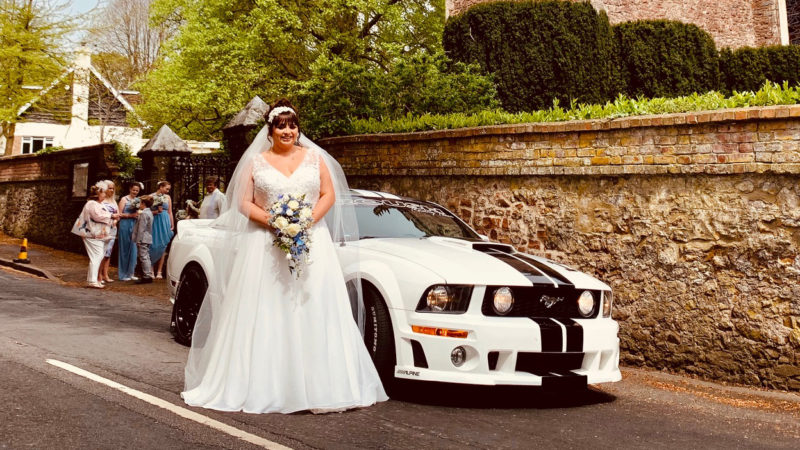 Ford Mustang GT V8 wedding car for hire in Newton Abbot, Devon