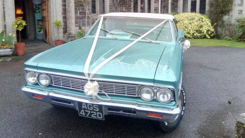 Chevrolet Chevelle Malibu Convertible wedding car for hire in Bideford, Devon