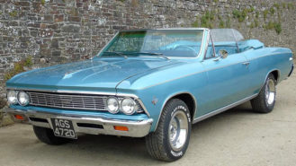 Chevrolet Chevelle Malibu Convertible wedding car for hire in Bideford, Devon