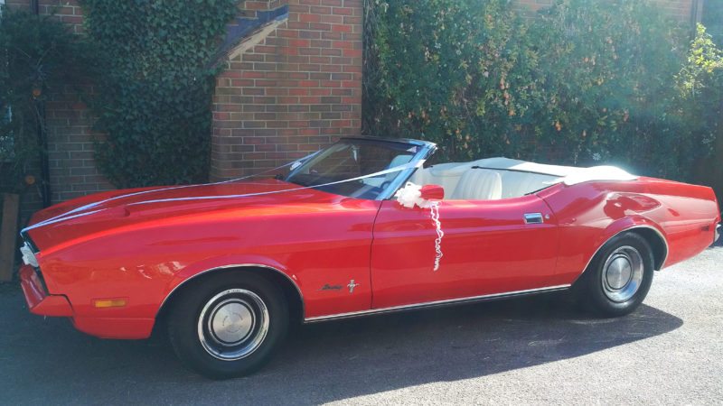 Ford Mustang Convertible wedding car for hire in Cheshunt, Hetfordshire