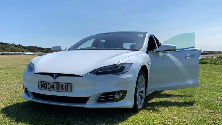 Tesla 'S' wedding car for hire in Cardiff, South Wales