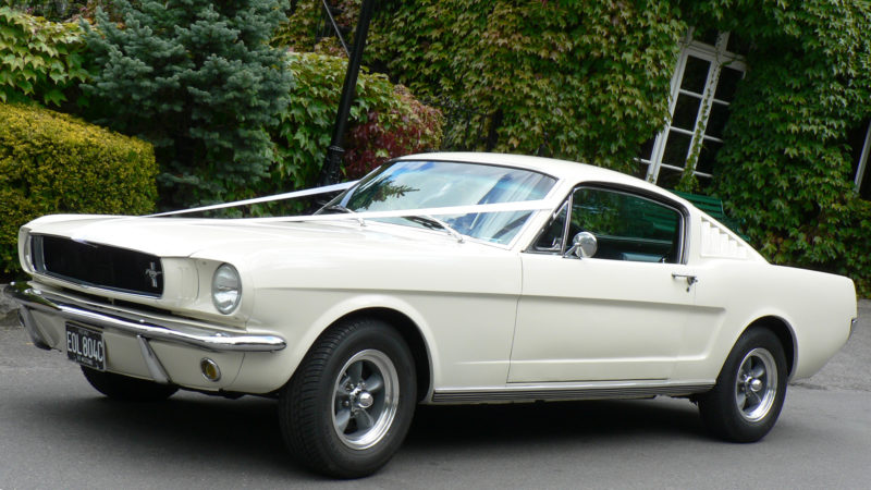 Ford Mustang Fastback V8 wedding car for hire in Hartfield, East Sussex