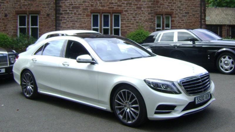 Mercedes S500 LWB wedding car for hire in Paington, Devon