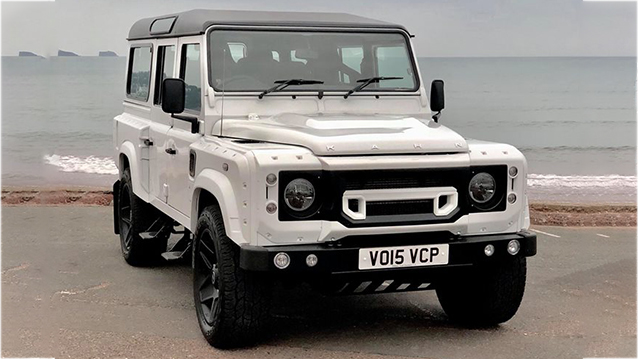 Land Rover Defender 110 wedding car for hire in Paington, Devon