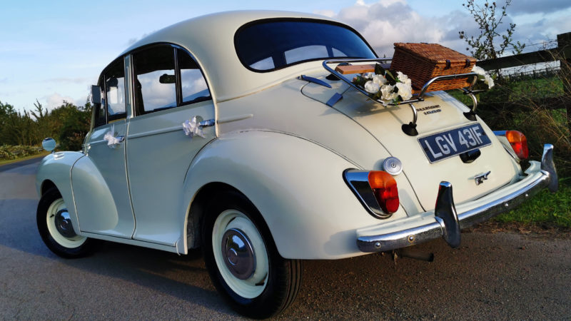 Morris Minor Saloon wedding car for hire in Leeds, West Yorkshire