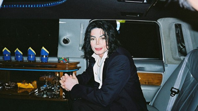 Late Michael Jackson in the back of the Stretched Limousine
