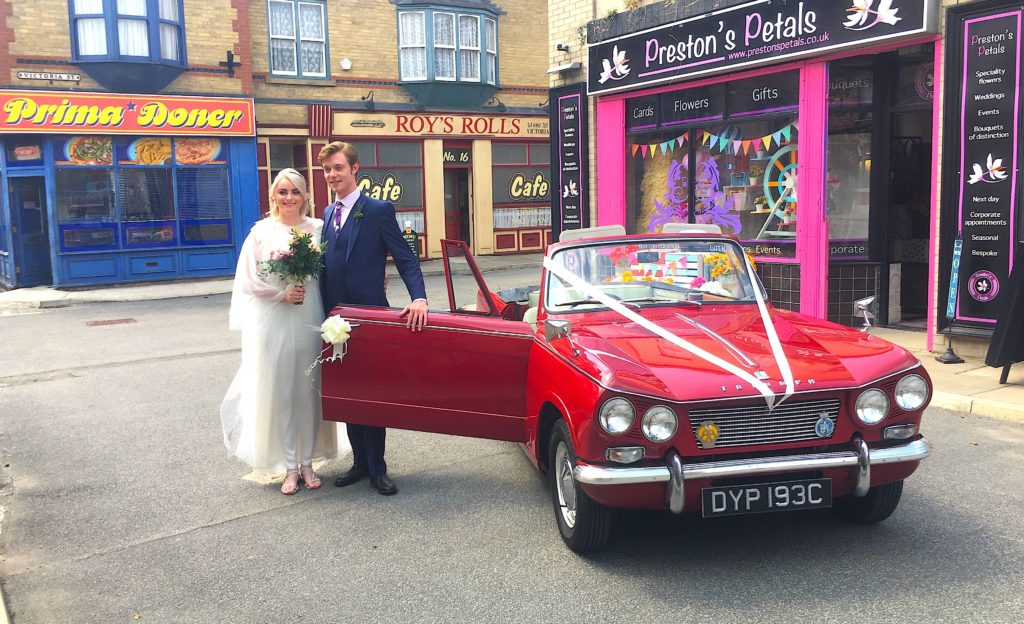 Famous Film and TV Vehicles Classic triumph Wedding Car on Coronation Street