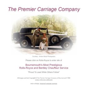 1998 Screenshot of Premier Carriage Wedding Cars' Website
