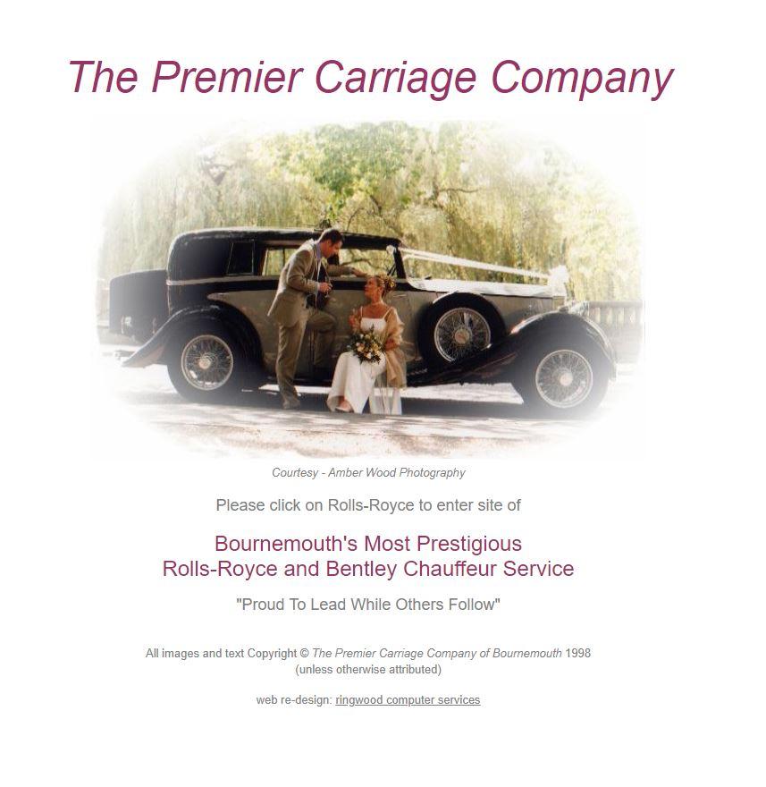 1998 Screenshot of Premier carriage Wedding Cars' Website