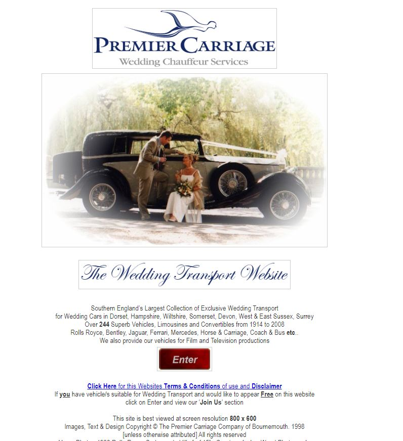 Premier Carriage Website in 2004