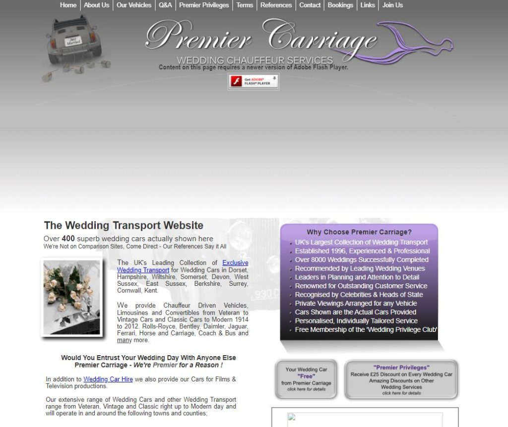 2012 Website with New Logo for Premier Carriage Wedding cars