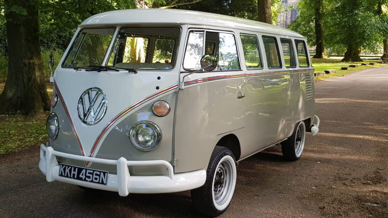 Volkswagen Split Screen Campervan wedding car for hire in Leicester, Leicestershire