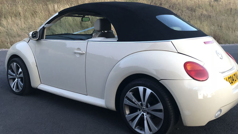 Volkswagen Beetle Convertible wedding car for hire in Newport, South Wales