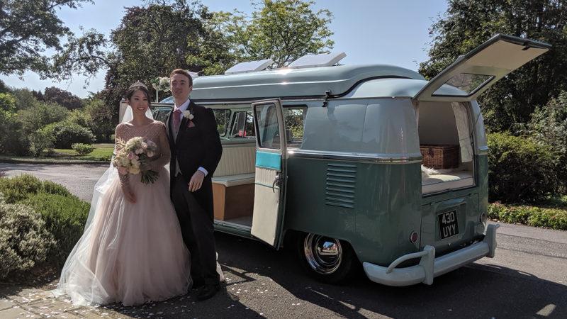 Volkswagen Split Screen Camper Van wedding car for hire in Farnborough, Hampshire