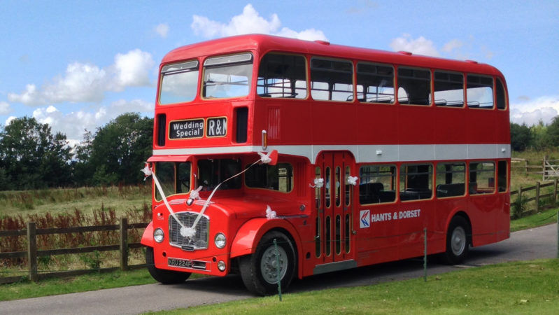 Bristol FLF Bus wedding car for hire in Bournemouth, Dorset
