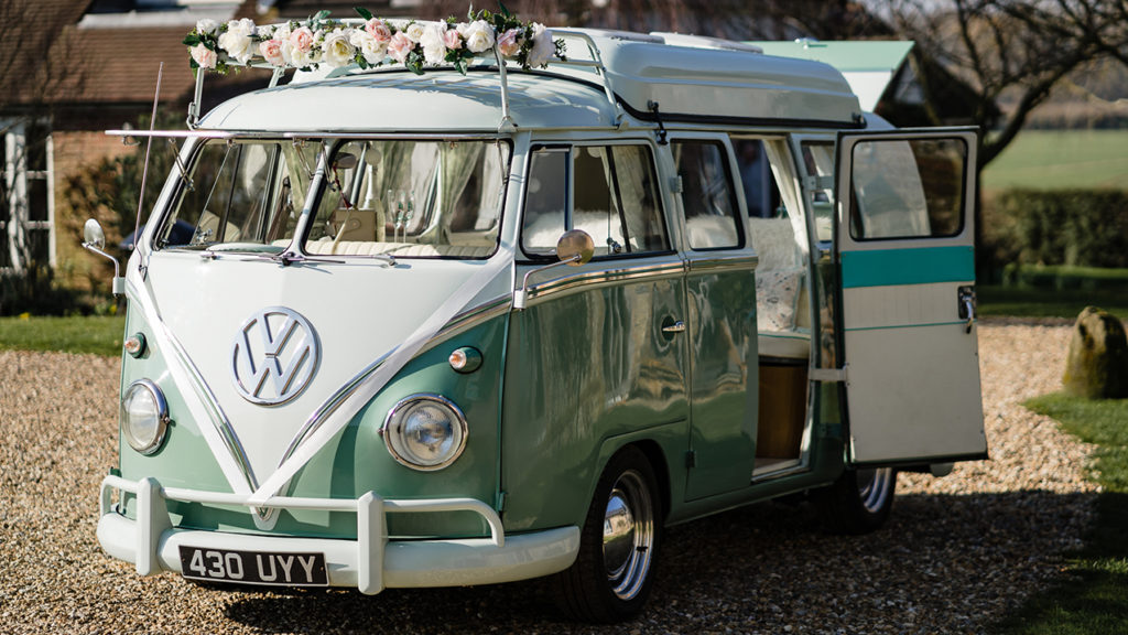 VW Wedding Campers in Pastel Green and White