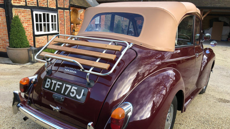 Morris Minor 1000 Convertible wedding car for hire in Wheatley, Oxfordshire