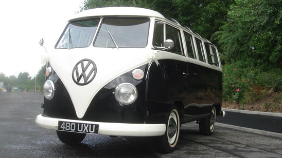 Volkswagen Split Screen CamperVan wedding car for hire in Glasgow, Scotland