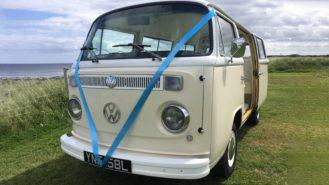 Volkswagen Bay Window Campervan wedding car for hire in Lesbury, Nortumberland