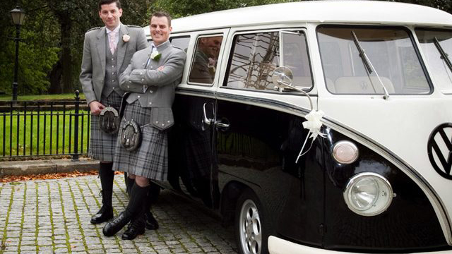 Volkswagen Split Screen Camper Van wedding car for hire in Glasgow, Scotland