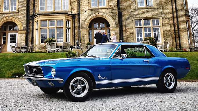 Ford Mustang V8 Coupé wedding car for hire in Leeds, West Yorkshire