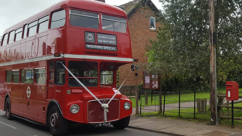 Routemaster Bus wedding car for hire in Kidderminster, Worcestershire