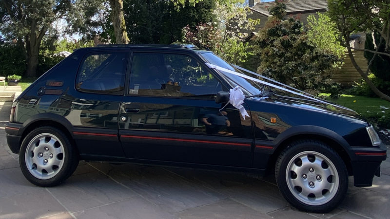 Peugeot 205 1.9 GTi wedding car for hire in Wigan, Manchester