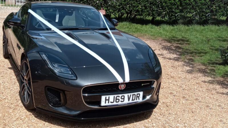 Jaguar F-Type wedding car for hire in Verwood, Dorset