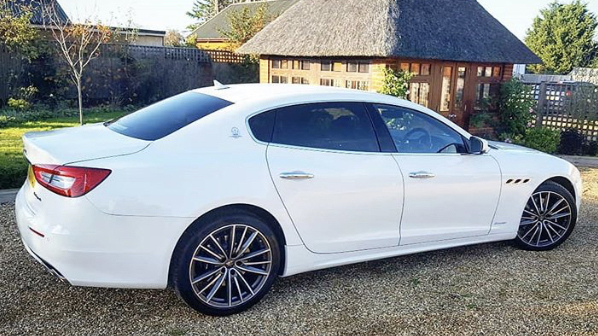 Maserati Quattroporte GranLusso wedding car for hire in Cobham, West London