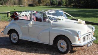 Morris Minor 1000 Convertible wedding car for hire in Southampton, Hampshire