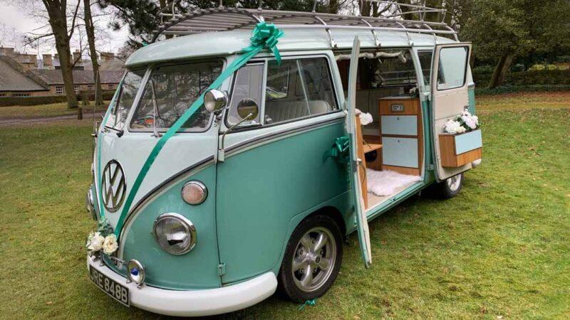 Volkswagen Campervan Safari wedding car for hire in Barnsley, South Yorkshire