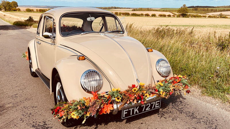 Volkswagen Beetle wedding car for hire in Royston, Hertfordshire