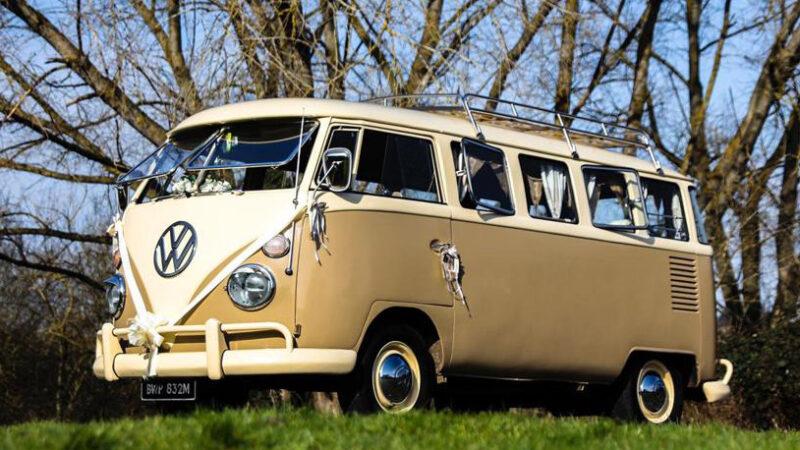 Volkswagen Split Screen Camper Van wedding car for hire in Faversham, Kent