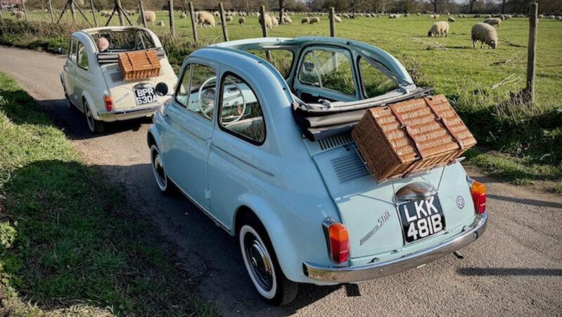 Fiat 500 Convertible wedding car for hire in Wokingham, Berkshire