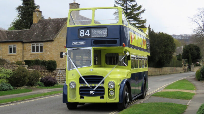 Leyland PD2 Open Top Bus wedding car for hire in Moreton-in-Marsh, Gloucestershire